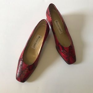 Etienne Aigner Leather Snake Design Red & Black 8M